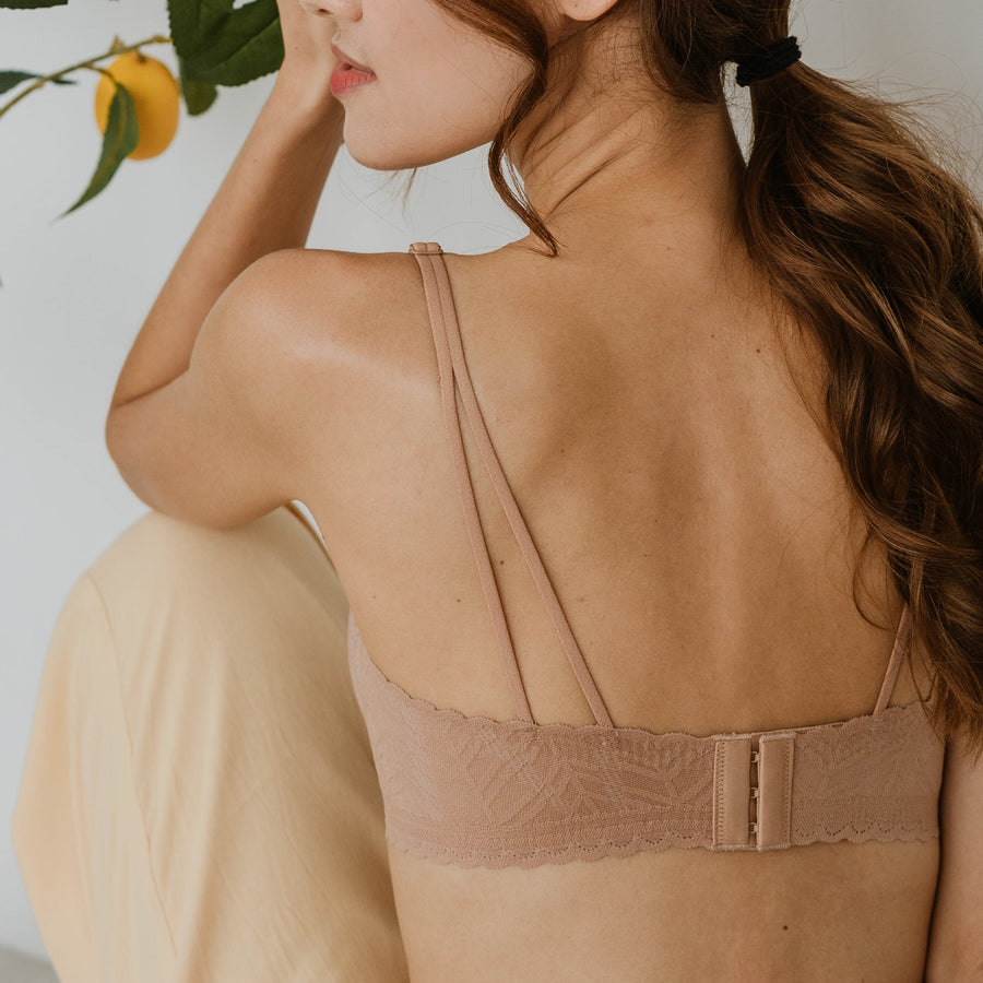 Lace Meets Comfort Seamless Wireless Bra in Warm Nude