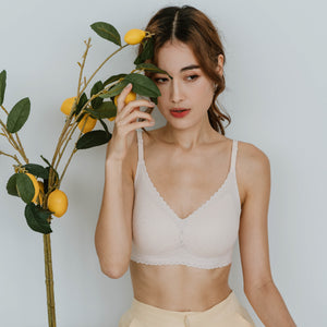 Lace Meets Comfort Seamless Wireless Bra in Blush Nude