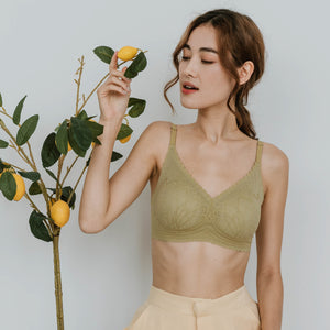 Lace Meets Comfort Seamless Wireless Bra in Sage