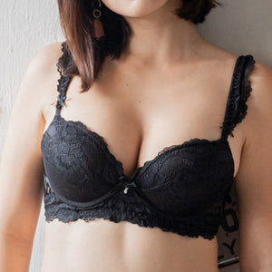 Lacey Sweetheart Push Up Wireless Bra in Black
