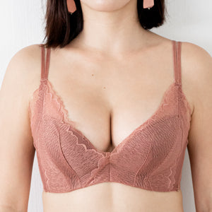 Uplift Lacey Push Up Wireless Bra in Terracotta