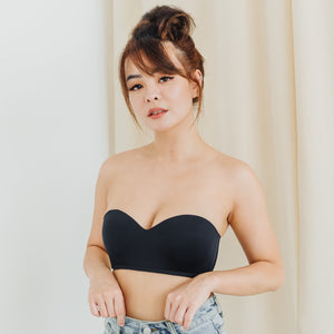 LIVE FREE! Lightly-Lined 100% Non-Slip Strapless Wireless Bra in Black