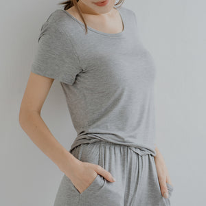 Everyday Bra-less Modal® Fabric Loungewear set in Gray (With in-built cups)