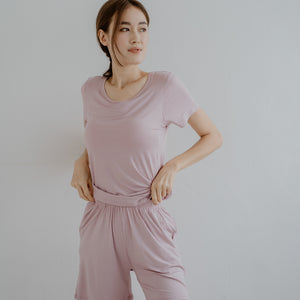 Everyday Bra-less Modal® Fabric Loungewear set in Lilac (With in-built cups)
