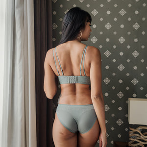 Polka-Dot Mesh Lightly-Lined Wireless Bra in Sage