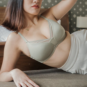 Mesh Panel Wireless Bra in Sage