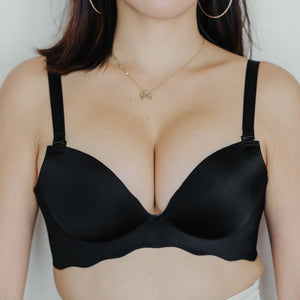 Oomph! Wireless Super Push Up Bra in Silky Black