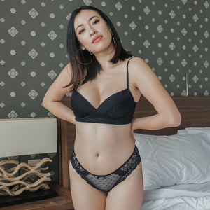 Romantic Polka Dot! Comfy Cheeky in Black