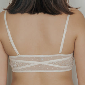 Romantic Polka Dot! Cushiony-Soft Wireless Bra in Cream
