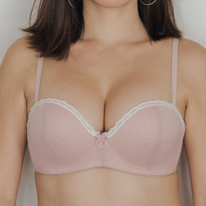 Dreamy Polka Dot! Balconette Push Up Wireless Bra in Blush