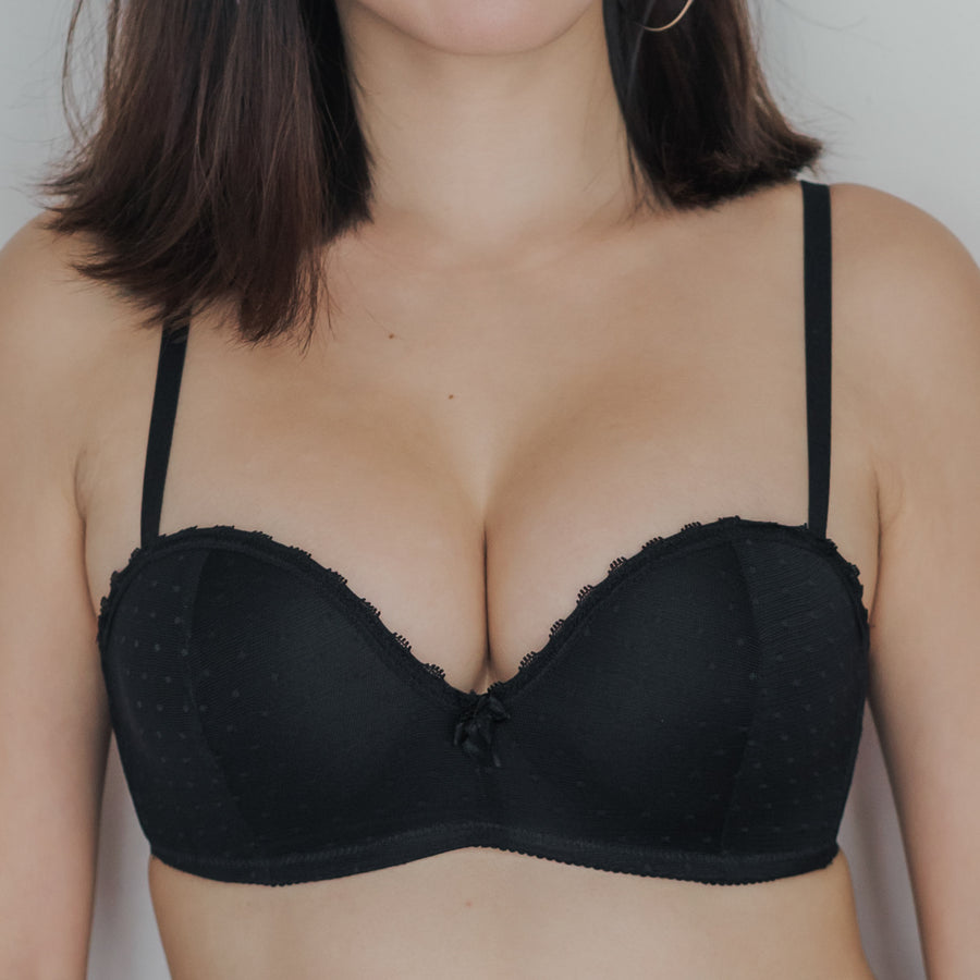 Dreamy Polka Dot! Balconette Push Up Wireless Bra in Black