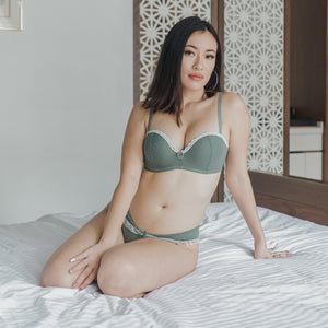 Dreamy Polka Dot! Balconette Push Up Wireless Bra in Sage