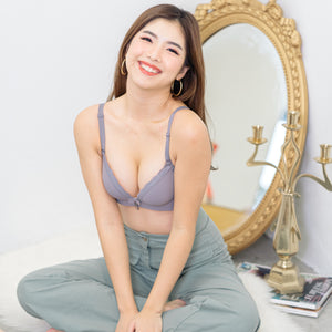 Lacey Minimalist Super Push Up Bra Wireless Bra in Grey