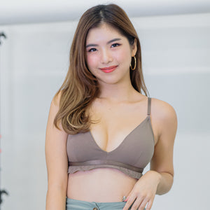 Ruffled Chic Bralette in Brown