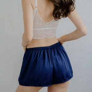 Signature Satin Lounge Shorts in Navy