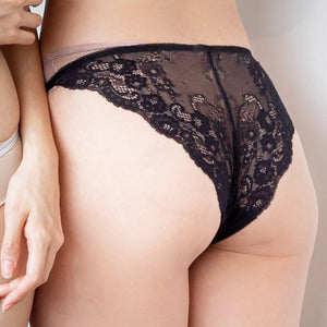 Floral Lacey Comfort! Comfy Cheeky in Black