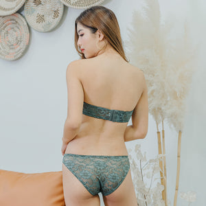 V-Laced Strapless Wireless Bra in Sage