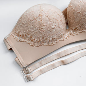 Laced It Up! V2.0 Non-Slip Strapless Push Up Bra in Warm Nude