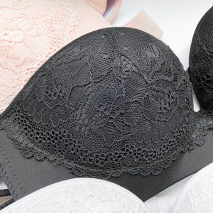 *BACKORDER OPEN* Laced It Up! V2.0 Non-Slip Strapless Push Up Bra in Black