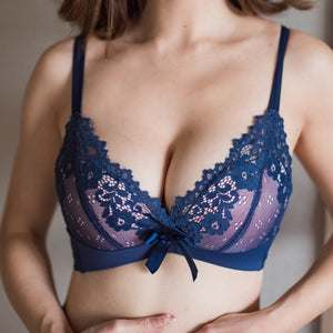 Ultimate Comfort Wireless Push Up T-Shirt Bra in Navy Blue