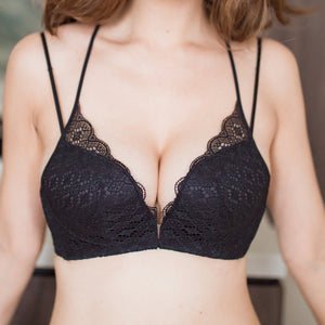 Lacey RacerBack Wireless Push Up Front Clasps Bra in Black