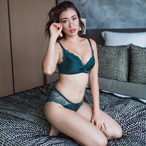 Comfort Satin Wireless Push Up T-Shirt Bra in Forest Green
