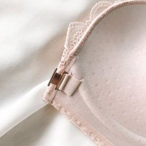 Lacey RacerBack Wireless Push Up Front Clasps Bra in Light Blush