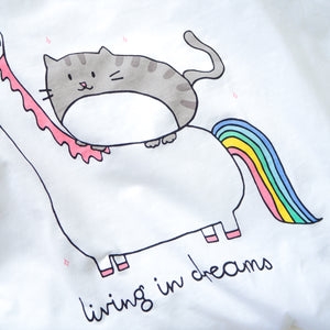 Living In Dreams Unicorn Tee in Pearl White