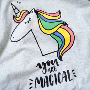 You Are Magical Unicorn Tee in Glacier Grey
