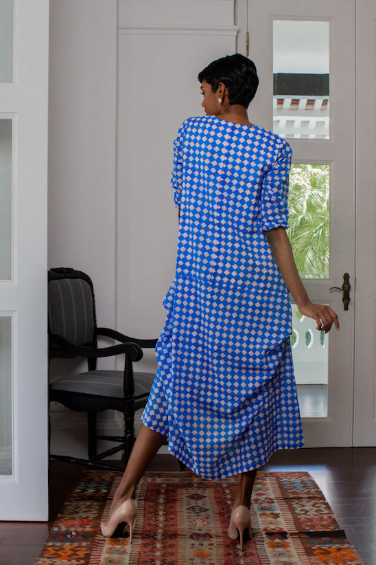 ZEBRA LONG SLEEVED MAXI DRESS - BLUE