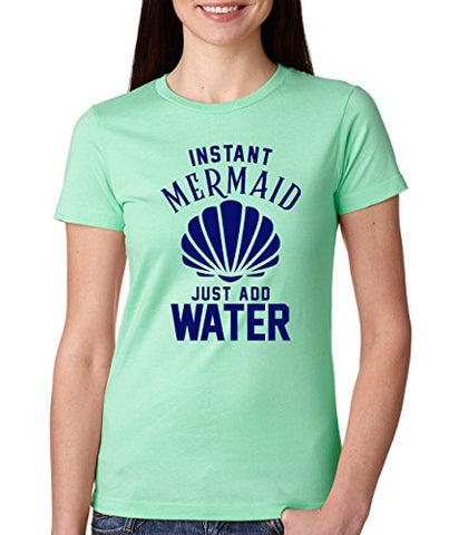 SignatureTshirts Woman's Crew Instant Mermaid Just Add Water Cute Funny Shell Shirt
