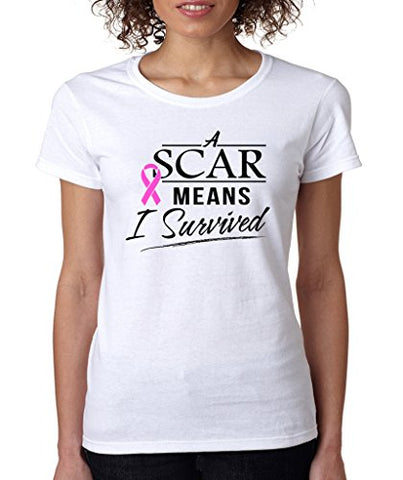 SignatureTshirts Womens A Scar Means I Survived Crewneck Tee White