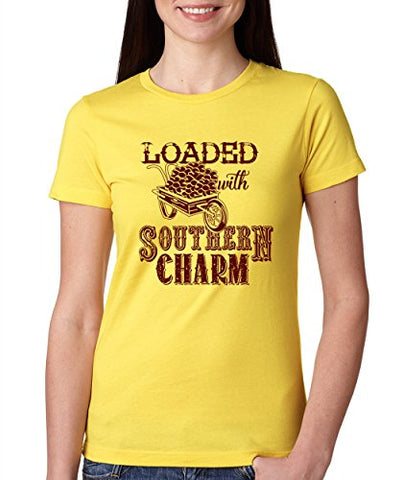 SignatureTshirts Woman's Crew Loaded with Southern Charm Funny Shirt