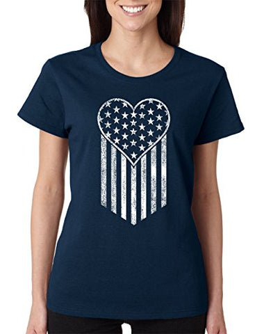 SignatureTshirts Women's American Flag Heart and Stripes Crew Neck Cute USA T-Shirt