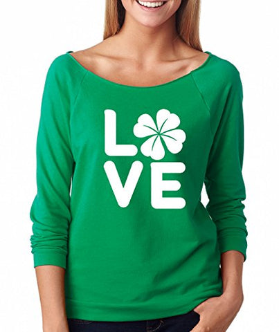 SignatureTshirts Woman's ST.Patrick's Day Raglan Love Shamrock Cute Shirt