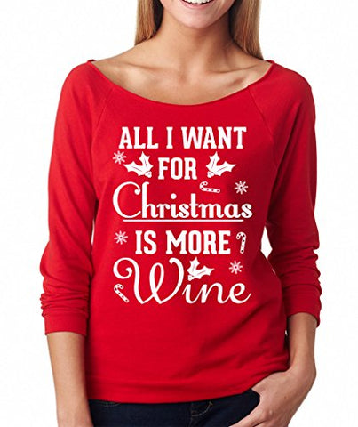 SignatureTshirts Women's All I Want for Christmas is More Wine Raglan Tee