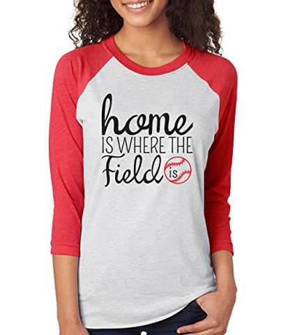 SignatureTshirts Woman's Home is Where The Field is 3/4 Sleeve Sports Baseball Raglan