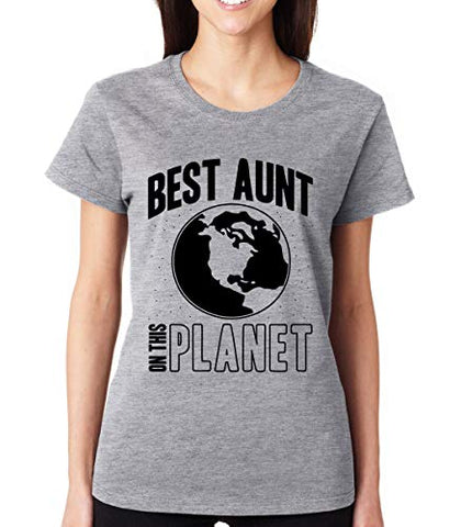 SignatureTshirts Women's Best Aunt on The Planet Cute Family Crew Neck T-Shirt