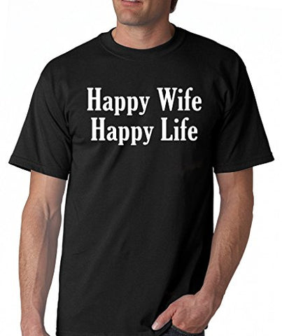 SignatureTshirts Men's Happy Wife Happy Life T-Shirt, Black Charcoal & Royal, S-2XL Sizes