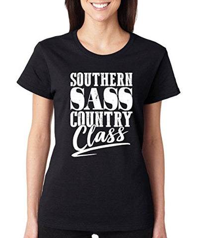SignatureTshirts Woman's Crew Southern Sass Country Class Cute Funny Shirt