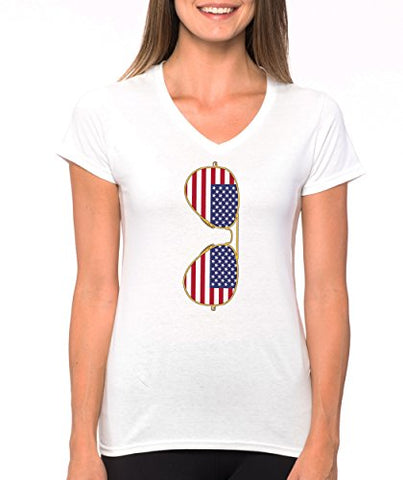 SignatureTshirts Women's American Flag Sunglasses V-Neck Cool Retro USA T-Shirt