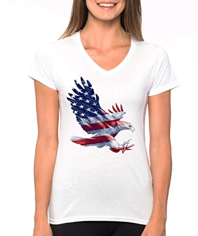 SignatureTshirts Women's American Flag Bald Eagle V-Neck Patriot USA Cool T-Shirt