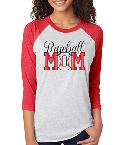 SignatureTshirts Woman's Pinstripes Baseball Mom Cute Fun 3/4 Sleeve T-Shirt