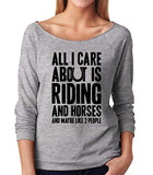 SignatureTshirts Women's All I Care About is Riding Horses Funny Raglan T-Shirt