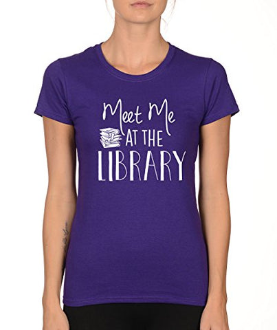 SignatureTshirts Woman's Crew Meet Me at The Library Funny Nerdy Shirt
