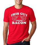 SignatureTshirts Men's This Guy Loves Bacon Funny T-Shirt