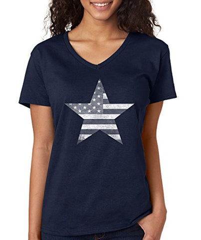 SignatureTshirts Women's American Flag Star V-Neck USA Patriot Cute Cool T-Shirt