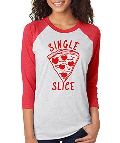 SignatureTshirts Woman's 3/4 Sleeve Single Slice Cute Funny Pizza Hearts Shirt