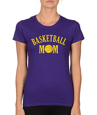 SignatureTshirts Womens Basketball Mom Crewneck Tee Purple