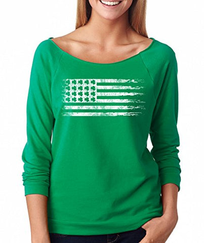 SignatureTshirts Woman's ST.Patrick's Day Raglan United States Clover Flag Cute Shirt